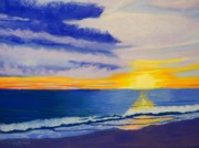 Topsail Island Pastels Posters - Topsail Sunrise II Poster by Cathy Harville