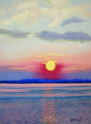 Topsail Island Pastels Posters - Topsail Sunset III Poster by Cathy Harville