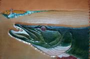 With Tapestries - Textiles Originals - Topwater Leather Muskie by Wayne Houston