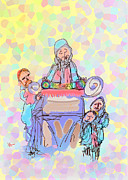 Israel Drawings - Torah Reading by Michael Klein