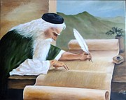 Writer Painting Originals - Torah Sofer by Lena Day