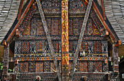Bamboo House Photo Prints - Torajan Tongkonan House In Sulawesi, Indonesia Print by Glen Allison