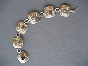 Sterling Silver Bracelet Art - Torch Fire Square by Brenda Berdnik