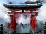 Shrine Island Prints - Torii Print by Geoffrey C Lewis