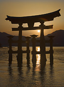 Floating Torii Framed Prints - Torii Framed Print by Karen Walzer