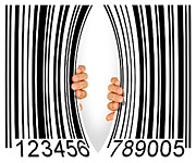 Hands Metal Prints - Torn Bar Code Metal Print by Carlos Caetano