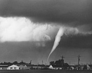 Severe Weather Posters - Tornado in Indiana Poster by David Petty and Photo Researchers