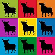 Bulls Posters - Toro Pop Art Poster by Michael Tompsett