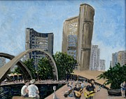 City Hall Painting Framed Prints - Toronto City Hall Framed Print by Ian Duncan MacDonald