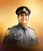 Police Drawings - Toronto Police Constable Tony Vella by Alex Tavshunsky