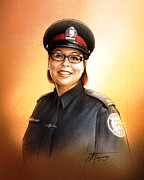 Police Drawings - Toronto Police Constable Wendy Drammond by Alex Tavshunsky