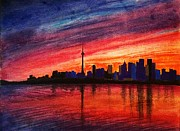 Skylines Drawings Originals - Toronto Skyline by Fariz Kovalchuk