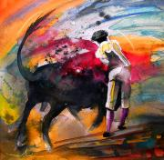Bullfight Art Drawings Posters - Toroscape 53 Poster by Miki De Goodaboom