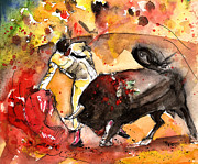Bullfight Paintings - Toroscape 61 by Miki De Goodaboom