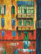 Old Buildings Mixed Media Prints - Torrential rain in Venice Print by Dan Haraga