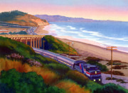 Beaches Posters - Torrey Pines Commute Poster by Mary Helmreich