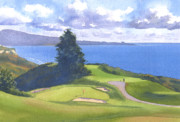 Course Paintings - Torrey Pines Golf Course 1 by Mary Helmreich
