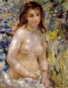 Torso Metal Prints - Torso effect of sunlight Metal Print by Pierre Auguste Renoir