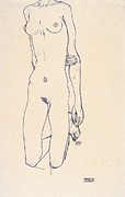 Egon Schiele Drawings - Torso Eines Knienden by Pg Reproductions