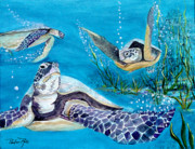 Sealife And Beaches - Tortoise Under Water by Pauline Ross