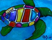 Colorful Art Painting Posters - Tortuga Poster by Patti Schermerhorn
