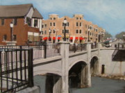 Architecture Mixed Media Originals - Tosa Village Bridge by Anita Burgermeister