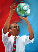 President Obama Posters - Tossing the World Poster by Leslie Hoops-Wallace