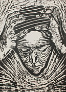 Portrait Woodblock Prints - Total Confusion Print by Tamra Pfeifle Davisson