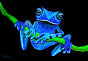 Whimsical Frogs Posters - Totally Blue frog on a vine Poster by Nick Gustafson