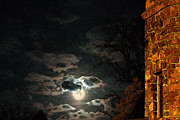 Super Castle Framed Prints - Totally Gothic Draculas Castle with the Super Moon Framed Print by John Haldane