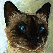 Linda Apple Painting Metal Prints - Totally Siamese - cat portrait oil painting Metal Print by Linda Apple