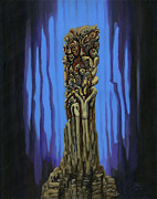 Symbols Paintings - Totem 2 by Peter Jai