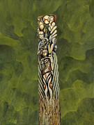 Symbols Paintings - Totem 3 by Peter Jai