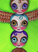 Quirky Painting Framed Prints - Totem Dolls Framed Print by Jaz Higgins