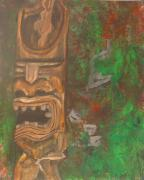 Tribal Art Paintings - Totem Pole by  Laurie Homan