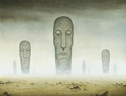 Surreal Landscape Painting Metal Prints - Totems Metal Print by Stacy Drum