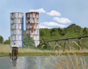 Rustic Paintings - Totuskey Silos by Jennifer  Donald