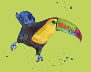 Yellow Beak Painting Metal Prints - Toucan - tropical bird Metal Print by Alison Fennell