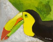 Yellow Beak Painting Metal Prints - Toucan Metal Print by Katie OBrien - Printscapes