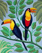 Birds And Animals - Paintings And Drawings - Toucans by Frederic Kohli