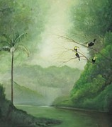 Flock Of Bird Paintings - Toucans Rainforest River by William Patterson