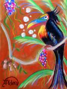 Fantasy Tree Pastels Posters - Toucanwine Bird Poster by Jo Hoden