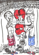 Boxer Mixed Media Prints - Touch Gloves Print by Robert Wolverton Jr