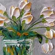 Gray Paintings - Touch of Amber Tulips by Jan Ironside