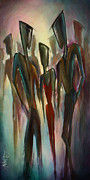 Crowds  Prints - Touch of Red Print by Michael Lang