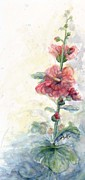 Fushia Prints - Touch of Summer Hollyhocks Print by CheyAnne Sexton