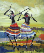 Maasai Painting Originals - Touched by the rhythm by Martin Bulinya