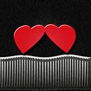 Hearts Digital Art - Touching Hearts by Carolyn Marshall