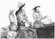 Cowboy Sketches Prints - Tough Ladies Print by Jack Schilder