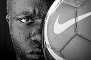 African American Metal Prints - Tough Like a Nike Ball Metal Print by Val Black Russian Tourchin
